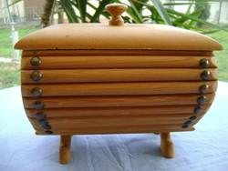 Art Deco nagyméretű fa doboz igazi igényes munka finoman megmunkált darab
