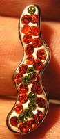 925 ezüst medál vörös és zöld czirkoniákkal