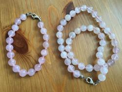 Ezüst-rózsakvarc nyaklánc+karkötő