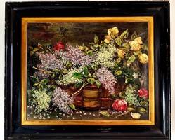 Antik Gyönyörű Virágcsendélet festmény