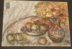 Abonyi Arany Margit(1899-1967): Virágcsendélet gyümölcsökkel.( 2 )