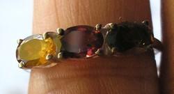 925 ezüst gyűrű, 17,6/55,3 mm, turmalinokkal
