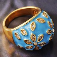 GF gyűrű, kék tűzzománcozott, fehér CZ kristályokkal