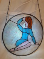 Tiffany technikával készült ólom üveg kép ablak dísz nőalak