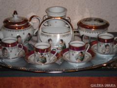 French porcelain, napoleon gold coffee set, 15 pieces of luxury gift, cup, pouring, underlay, etc.