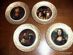 4 pcs marked porcelain painting picture set, rembrandt, leonardo da vinci mona lisa, etc.