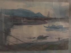 Kolbenheyer Bertalanné, Göbl Vera: Az Árpád-híd északi fejénél, jelzett akvarell festmény 1956-ból