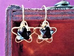 Fekete cseh kristályos, aranyozott fülbevaló