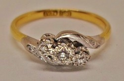 Szépséges  antik brill 18kt  platina  arany gyűrű Akció!!