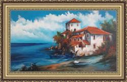 Mediterrán tengerpart kikötő csónak festmény olaj  olajfestmény szép keretben ingyenes házhoz szállí