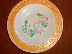 Antik felíratos  tányér  23 cm átmérő