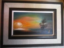 Boruzs Csaba : Hajnal c.olajfestmény 28 X 38 cm, olaj, fa, szignózott