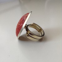 Kézműves aranyozott ezüst gyűrű habkorall kővel