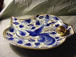 Vintage H. Bequet Quaregnon kobaltkék madaras porcelán asztalközép kínáló