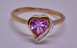 Szép rózsaszín topáz /brill arany gyűrű