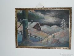 Téli táj, téli tájkép,  festmény
