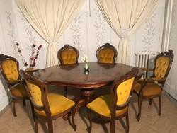 Neobarokk étkező 6db mustár sárga székkel