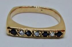 Különleges antik art deco zafír,gyémánt 18kt aranygyűrű