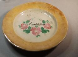 Antik feliratos tányér ,rózsa mintával