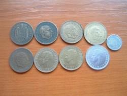 SPANYOL 1 PESETA 1944-1994 9 DB 1944,1947,1953,1963,1966,1975,1980,1987,1994