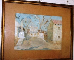 Tóth B. László (1906-1982): Képcsarnokos festmény, vegyes, karton, jelzett, keretben, 50 X 62 cm
