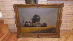 Tanyasi táj közel száz éves olaj-vászon jelzett festmény 50x70 cm