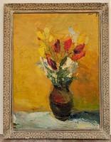 Vilhelm Károly (1943-2011) Csendélet c. képcsarnokos olajfestmény 92x72cm cm EREDETI GARANCIÁVAL !!