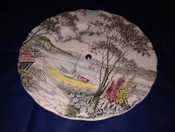 Mintás porcelán süteményes tál, antik angol tányér, tortatál