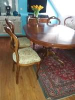 Antik bécsi barok intarziás étkezőasztal 6 db goblein kárpitú székkel