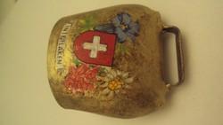 Sárgaréz,svájci kisbárány csengő emblémával, Interlaken felírattal.