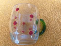 Kézzel festett pöttyös üveg bögre.8,5 cm magas.1000.-Ft