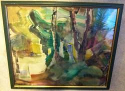 Iglay József 37,5 X 43,5 cm (1905-1980) Eső után akvarell, papír, jelzett, üvegezett fa keretben