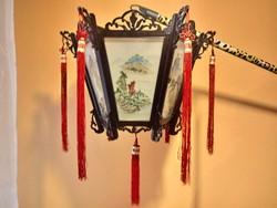 Kínai festett üveglapos lampion
