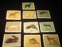 Bélyegképek ,állatokról, gyerekeknek  , tíz db, 43x33 mm az50 es évekből