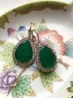 Zöld köves török fülbevaló- francia kapoccsal