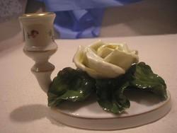 N18 Ó- Herendi formaszámos jubileumi 1839-1949 ritka de sérült rózsás gyertyatartó  12 x 9 cm-es