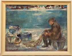 Jets György (1925-1996) Dunai halász c. Képcsarnokos olajfestménye 86x66cm EREDETI GARANCIÁVAL !!!
