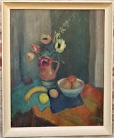 Szilvásy Margit (1898-1977) Csendélet c Képcsarnokos olajfestménye 86x66cm EREDETI GARANCIÁVAL !!