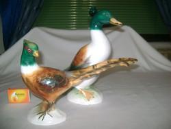 Kerámia kacsa és fácán figura, nipp - nagy méretűek