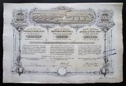 Első Magyar Sertéshizlaló és Kölcsön Előlegező Társulat részvény 200 forint 1869 - Pest