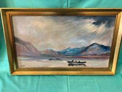 Csónakázók festmény