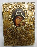 Falapra festett ikon másolat, 11,5 x 16x 2 cm