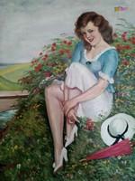 Mezei virágok között pihenő ifjú hölgy, antik olaj-vászon festmény, Illencz Lipót alkotása