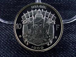 Ritka ezüst belga 10 frank tükörveret, utánveret 1969