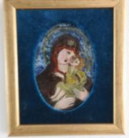 Nagy Gy. Margit : Szűz Mária a kisdeddel I. - tűzzománc kép