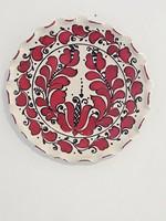 Korondi,piros,tulipán mintás kerámia dísztányér,falitányér