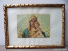 Mária kis Jézussal liliomokkal régi falikép arany keretben