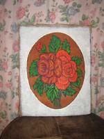 Vintage piros rózsás festmény