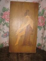2 db vintage intarzia akt kép és egy égetett virágcsendélet egyben