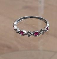 Valódi rubint és gyémánt köves fehér arany gyűrű